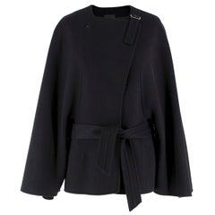 Agnona Black Double-Faced Cashmere Tie-Waist Coat/Jacket US 8