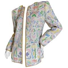 Oscar de la Renta 1980's Pastel Sequin and Pearl Embellished Evening Jacket Sz 6
