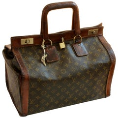 Louis Vuitton Monogram Doctors Bag Steamer Sac Tote Keepall 50s Rare