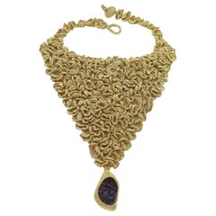 Gold Color Thread Purple Amethyst Floral Maximalist Jewelry Bold Necklace