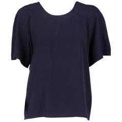 Chanel Vintage Blue Silk Blouse, 1990s