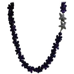 Amethyst Exclusive Oxidized Silver Starfish Clasp Gemstome Necklace