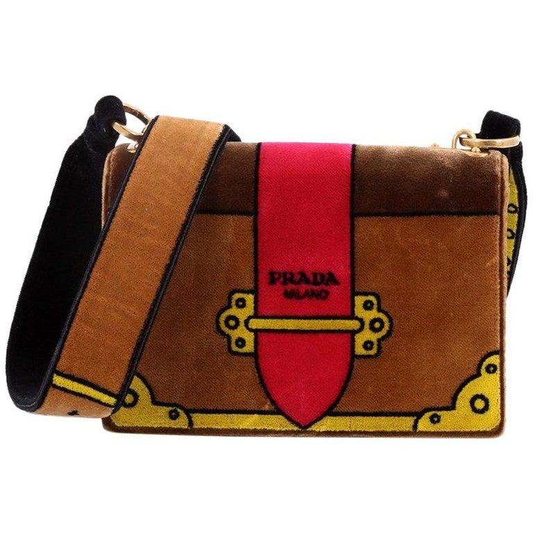 19bbb4c9531d Prada Cahier Crossbody Bag Printed Velvet Small For Sale at 1stdibs