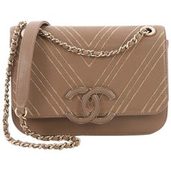 db65731c95c5f6 Chanel CC Flap Bag Triple Stitch Chevron Leather Small