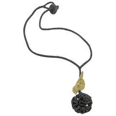 Black Thread Gold Bird Contemporary Crochet Handmade Fashion Jewelry Necklace