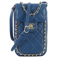 Chanel Chain Around Phone Holder Crossbody Bag Quilted Lambskin