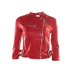 Dolce and Gabbana Red Lamb Leather Biker Jacket S