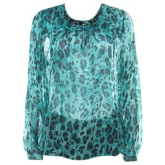 Blumarine Blue and Black Animal Printed Silk Embellished Neck Blouse M