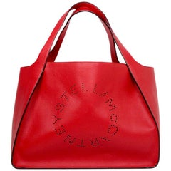Stella McCartney '18 Red Vegan Leather Perforated Alter East/West Tote Bag