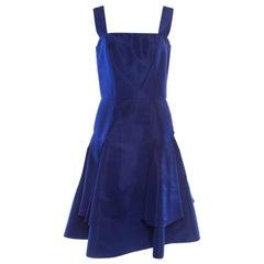 Oscar de la Renta Cobalt Blue Silk Fit and Flare Sleeveless Dress S