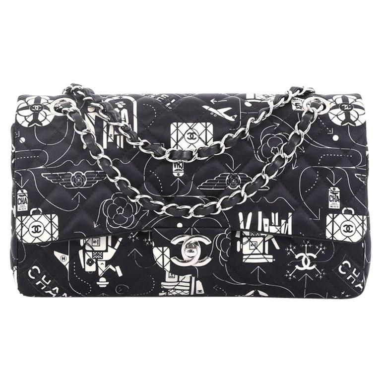 2e1885aa53e3 Chanel Airlines Classic Double Flap Bag Quilted Printed Satin Medium For  Sale at 1stdibs
