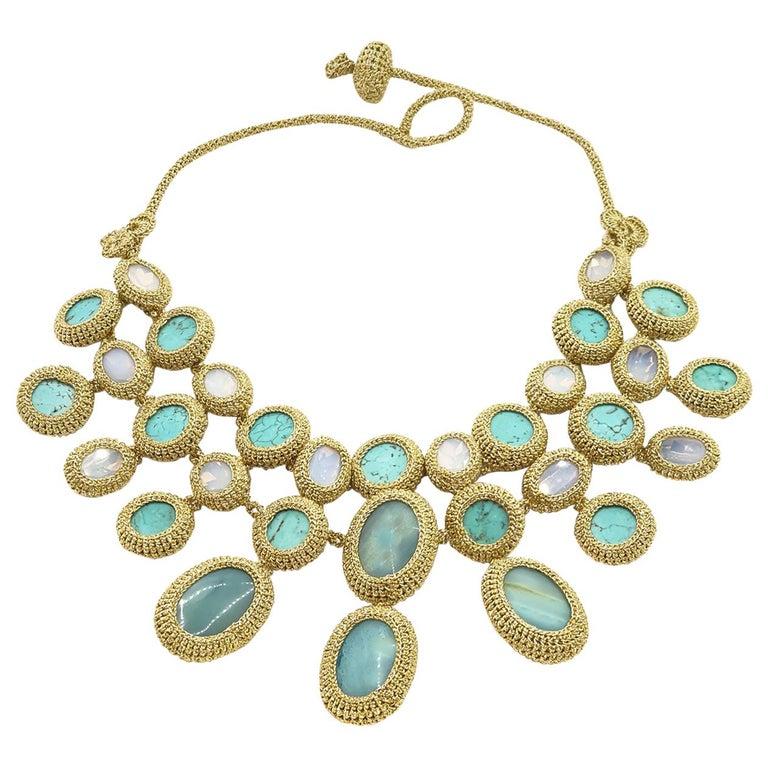 Shenhav Amazonites Turquoises Oscar night Crochet Statement Collar Necklace For Sale