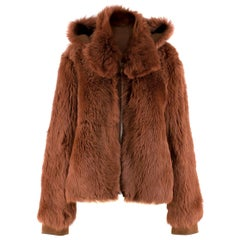 Scanlan Theodore Russet Shearling Fur Hooded Jacket ONE SIZE
