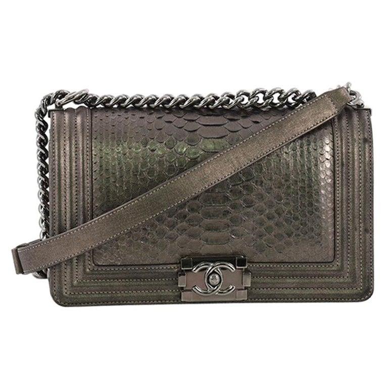 580b36e87a72 Chanel Boy Flap Bag Python Old Medium For Sale at 1stdibs