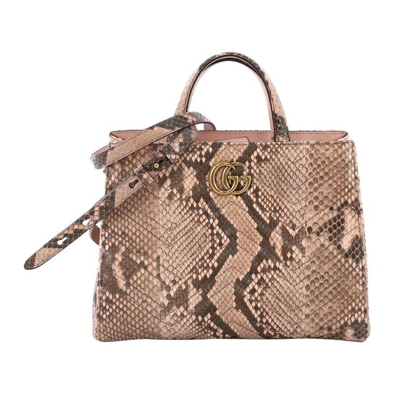 35c516eac Gucci GG Marmont Tote Matelasse Python Small For Sale at 1stdibs