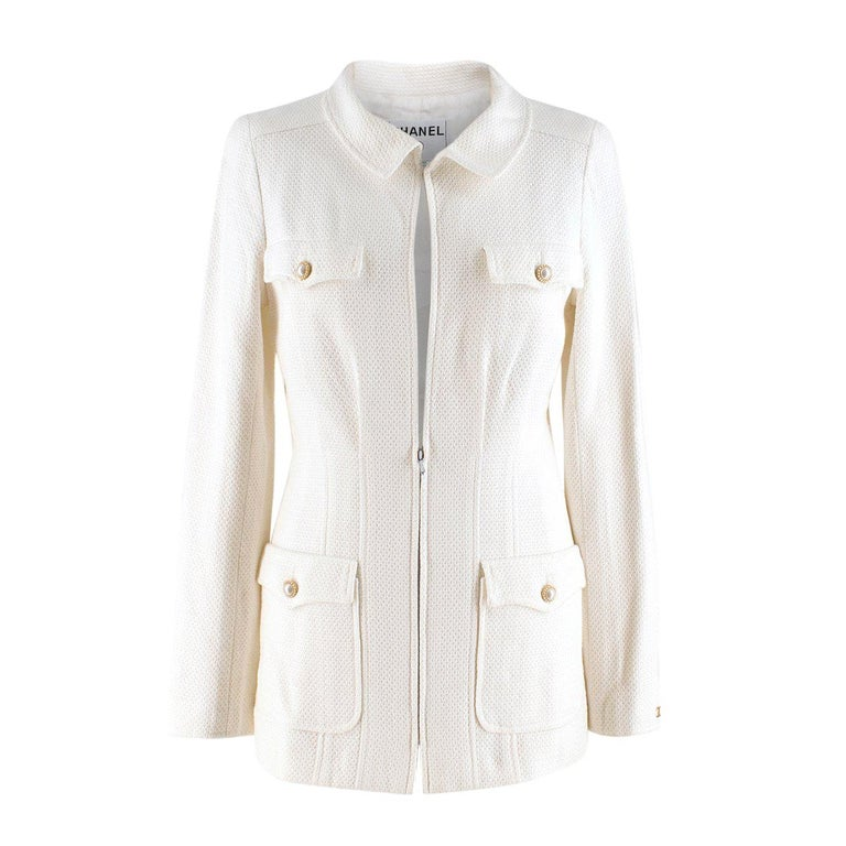 Chanel White Tweed Classic Jacket US 4