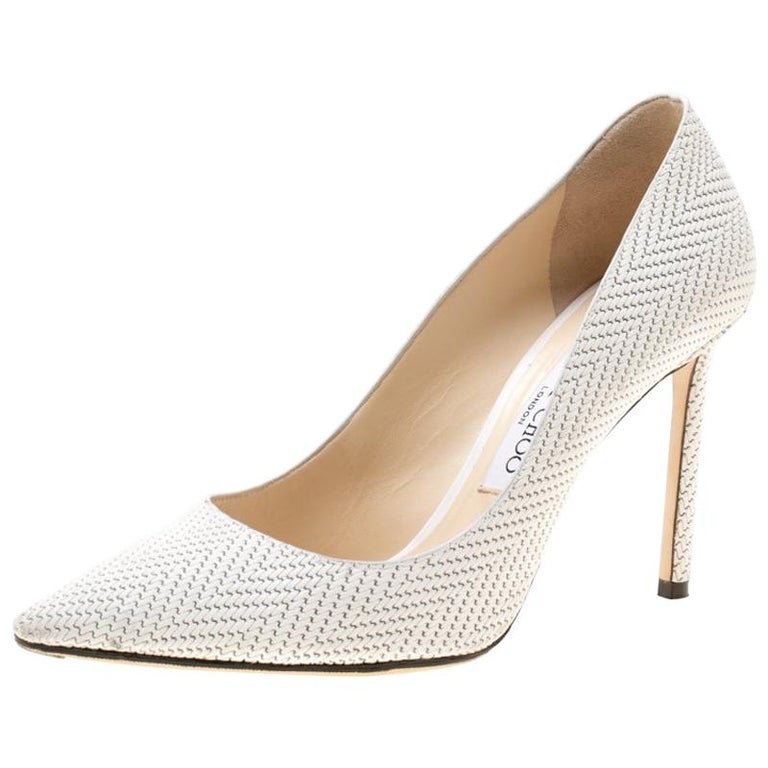 58b12492ed9 Jimmy Choo White Knitted Nubuck Leather Romy Pointed Toe Pumps Size 37 For  Sale