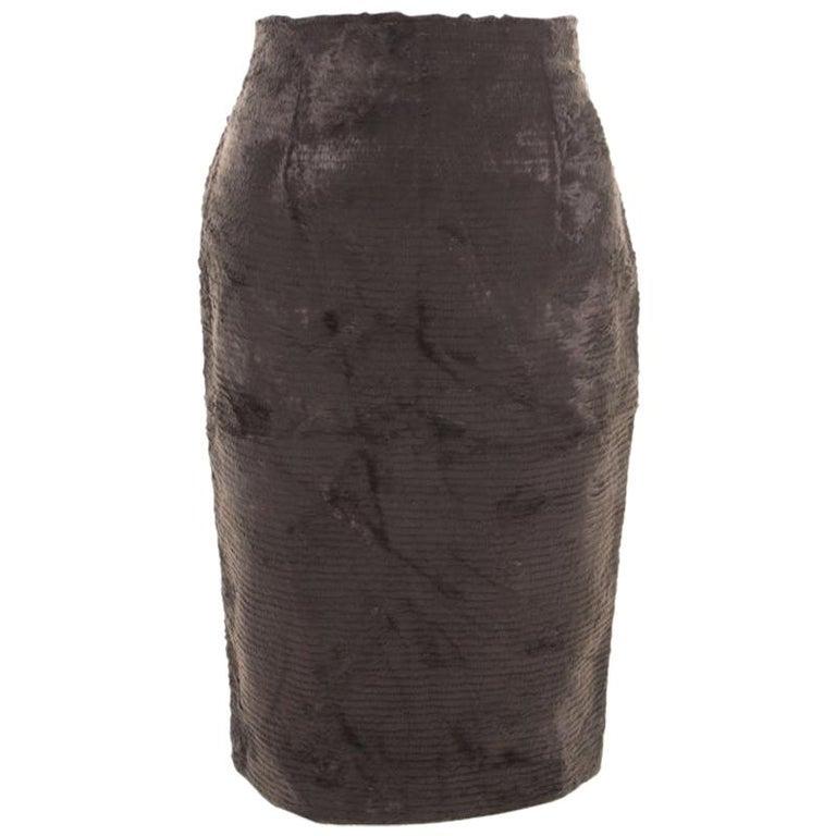 Gianfranco Ferre Vintage Grey Textured High Waist Pencil Skirt L For Sale