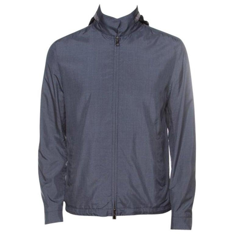 Loro Piana Midnight Blue Silk Rain System Hooded Jacket M For Sale