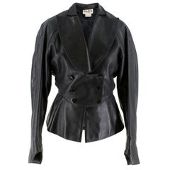 Alaia Paris Vintage Black Leather Cocoon Jacket US 6