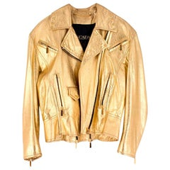 Escada Metallic Gold Leather Biker Jacket US 8