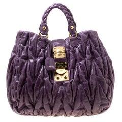 Miu Miu Purple Matelasse Leather Large Shopper Tote
