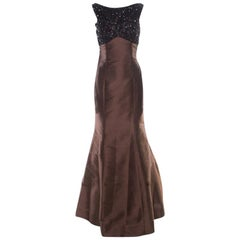 ML by Monique Lhuillier Espresso Brown Embellished Sleeveless Mermmaid Gown M