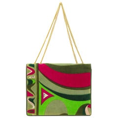 1970s Pucci Green and Pink Velvet Evening Bag