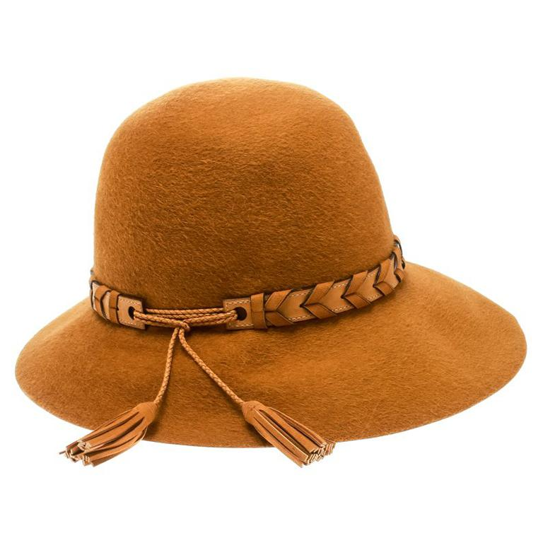 f55abb800 Hermes Mustard Yellow Felt Braided Leather Tassel Trim Fedora Hat Size 57  For Sale