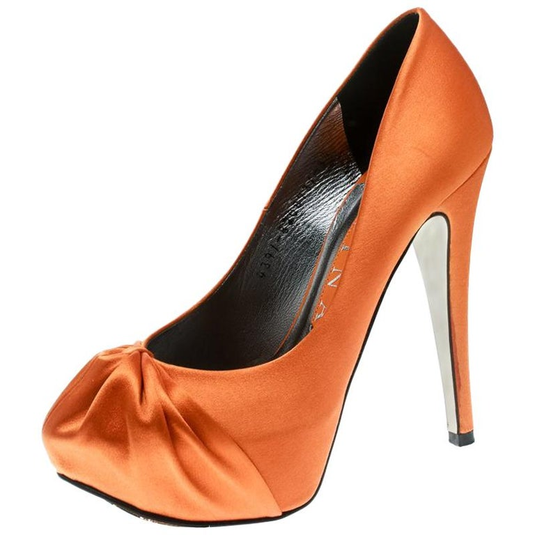 Gina Orange Satin Claire Hoodie Platform Pumps Size 36.5 For Sale