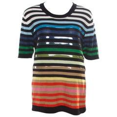 Sonia Rykiel Multicolor Striped Cotton and Silk Vinyl Strip Detail Top M