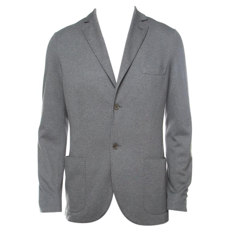 Loro Piana Sage Green Cashmere Silk Piqué Knit Sweater Jacket XL For Sale