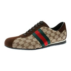 Gucci Beige Canvas and Suede Guccisima Web Detail Sneakers Size 46.5