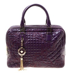 Versace Purple Leather Demetra Vanitas Top Handle Bag