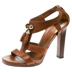 fe26502dbc1b Gucci Brown Pebbled Leather Marrakech Open-Toe Block Heel Sandals Size 37