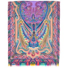 Etro Multi-Color Cashmere Paisley Print Sheer Scarf