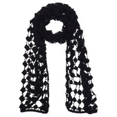 Dolce & Gabbana Black Crochet Beaded Scarf