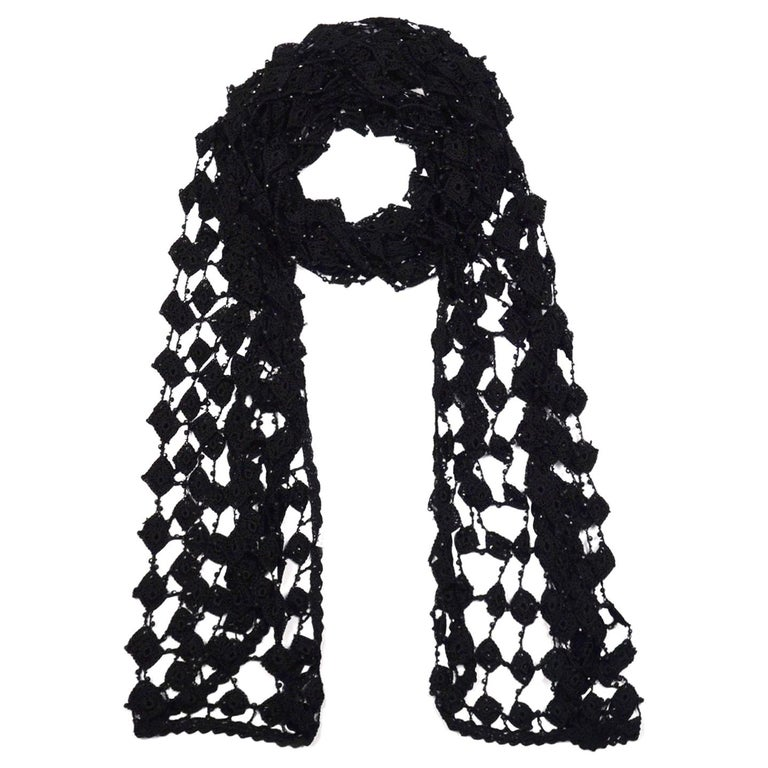 Dolce And Gabbana Black Crochet Beaded Scarf For Sale At 1stdibs