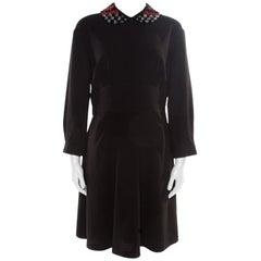 Miu Miu Black Crepe Embellished Collar Detail Long Sleeve Dress S