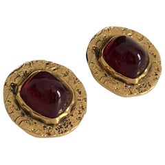 Chanel Red Glass Earrings with Textured Gold Setting Goossens Vintage 70s