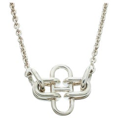Hermes Rose De Mer Silver Long Station Necklace