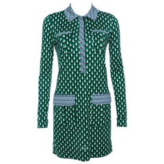 Diane Von Furstenberg Multicolor Printed Silk Jersey Denny Shirt Dress S