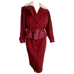 "Claude MONTANA ""New"" Leather and Cotton Jacket and Skirt Burgundy Suit - Unworn"