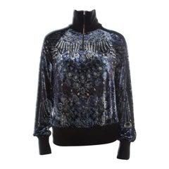 Jean Paul Gaultier Soleil Multicolor Velvet Printed Pullover S