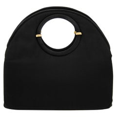 Late 1950s Rosenfeld Black Satin Circle Handle Evening Bag