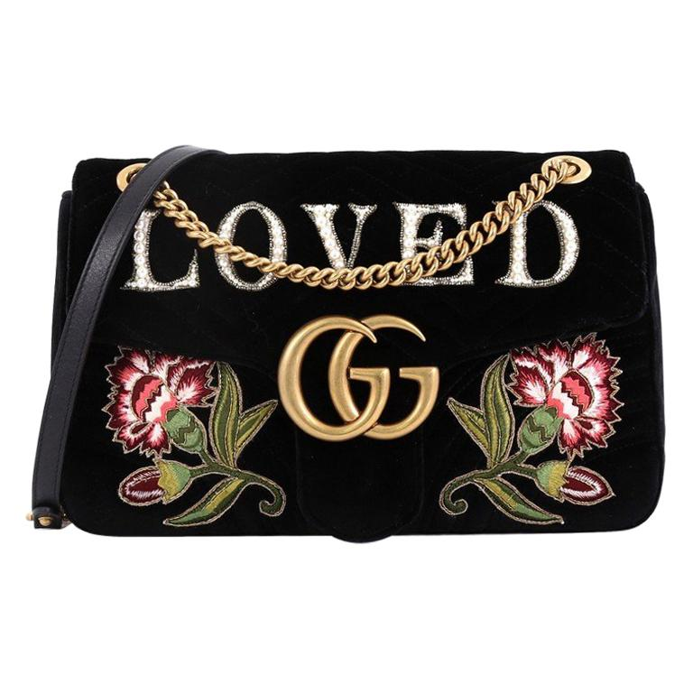 00aeee884dfa Gucci GG Marmont Flap Bag Embroidered Matelasse Velvet Medium For Sale at  1stdibs