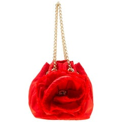 Carolina Herrera Red Nylon Bucket Shoulder Bag