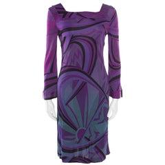 Emilio Pucci Purple Printed Jersey Square Neck Long Sleeve Dress M