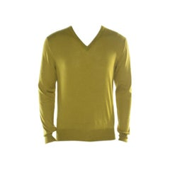Hermes Lime Green Cashmere Silk Long Sleeve V Neck Sweater L
