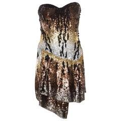 Roberto Cavalli Multicolor Sequin Embellished Strapless Bustier Dress M